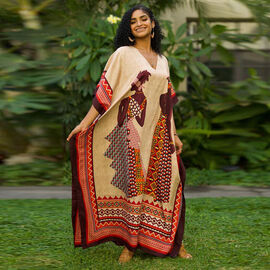 Winlar Afrocentric Figure Print Long V-Neck Red and Beige Kaftan (One Size)