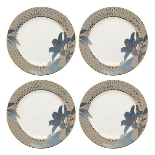 Set of 4 - Royal Worcester Blue Lily Side Plates 20.3cm