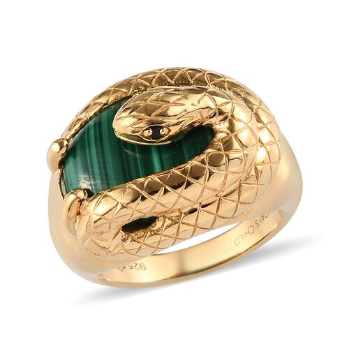 Sundays Child - Malachite and Boi Ploi Black Spinel Snake Ring in 14K Yellow Gold Overlay Sterling S