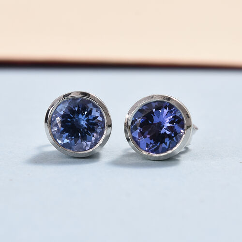 9K White Gold Tanzanite (Rnd) Stud Earrings (with Push Back) 1.75 Ct.