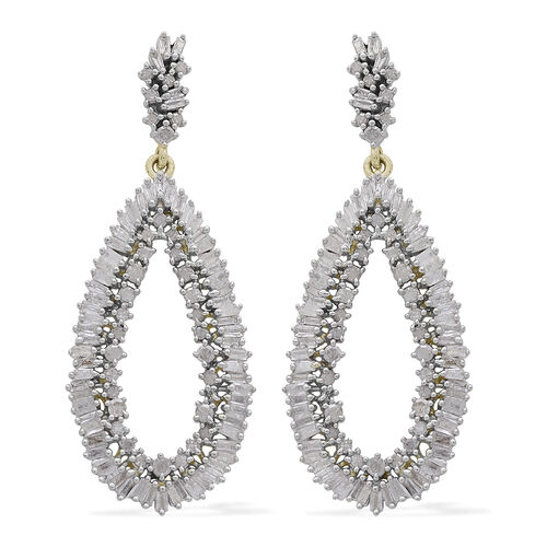 2 Carat Diamond Cluster Drop Earrings in Gold Plated Sterling Silver 5.87 Grams