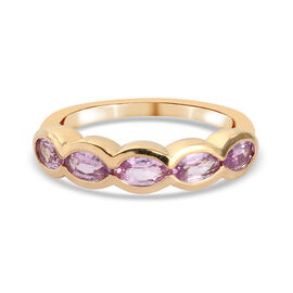 Pink Sapphire Stone Ring in Yellow Gold Overlay Sterling Silver 1.28 Ct.