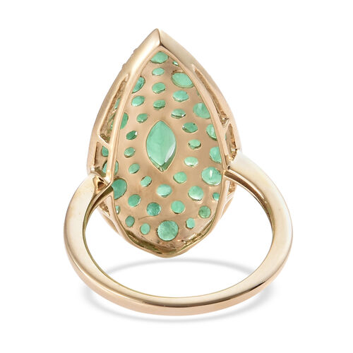 9K Yellow Gold AAA Kagem Zambian Emerald (Mrq and Rnd) Ring 2.500 Ct.