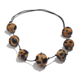 Leopard Pattern Adjustable Leather Bead Necklace (Size 28 to 40)