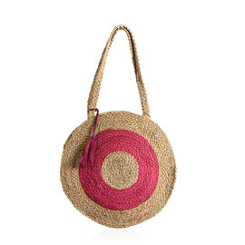 100% Handmade Jute Collection Fuchsia and Neutral Colour Round Shape Jute Bag (Size 33x7.5 Cm)