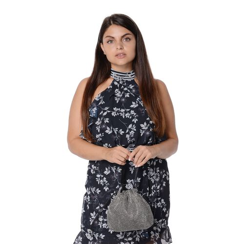 Crystal Studded Drawstring Tote Bag (Size 21x21.5x4 Cm) - Black and White