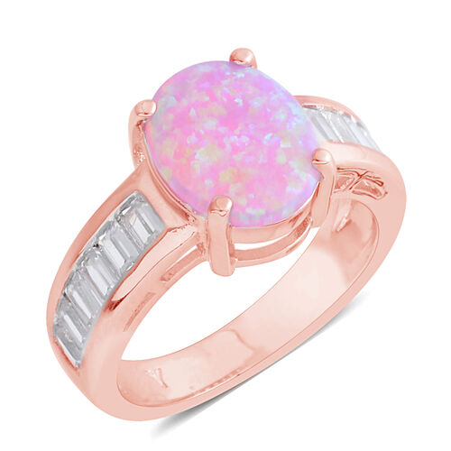 Simulated Pink Opal (Ovl), Simulated Diamond Ring in Rose Gold Bond