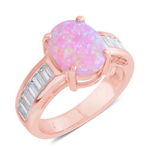 Karis KARIS Created Opal (2.36 Ct),Simulated Diamond Rose Gold Bond Brass Ring  3.080  Ct.