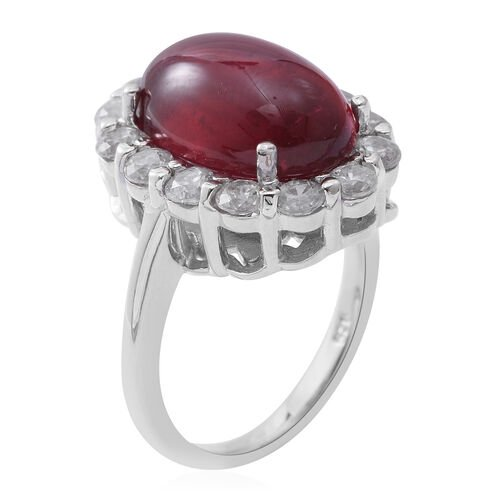 African Ruby (Ovl 11.32 Ct), Natural White Cambodian Zircon Ring in Rhodium Plated Sterling Silver 13.700 Ct. Silver wt 5.19 Gms.