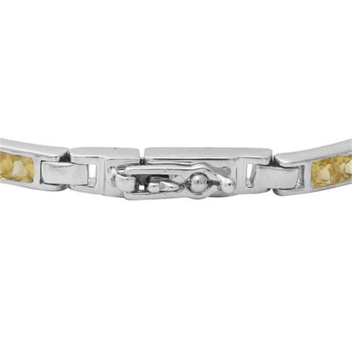 Yellow Sapphire (Sqr), Green Sapphire, Madagascar Blue and Pink Sapphire, Bracelet (Size 7.75) in Rhodium Overlay Sterling Silver 7.20 Ct, Silver wt 10.85 Gms