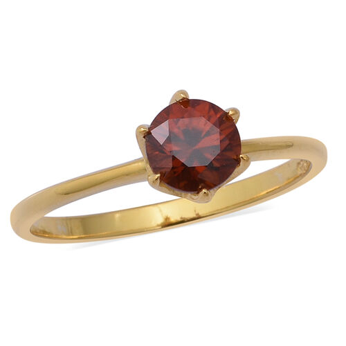1.32 Ct AAA Red Zircon Solitaire Ring in Gold Plated Sterling Silver