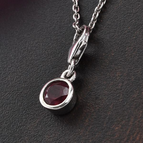African Ruby (FF) (Rnd) Charm in Platinum Overlay Sterling Silver