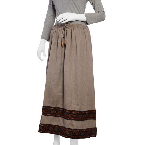 Handwoven Traditional Kullu Weave Skirt with Woollen Border Free Size Khaki and Multi Colour