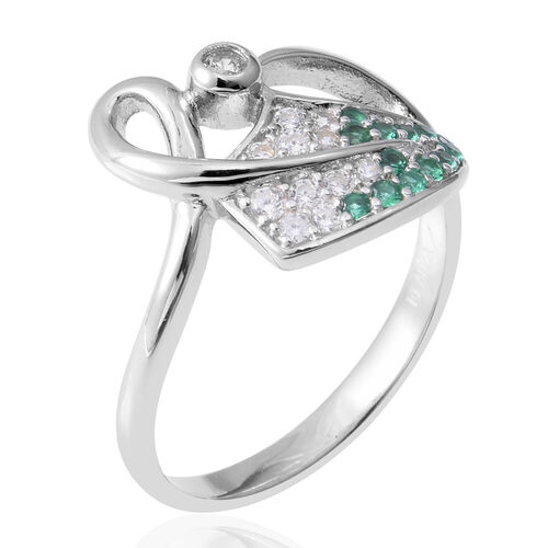 ELANZA Simulated Diamond and Simulated Emerald (Rnd) Ring in Rhodium Overlay Sterling Silver