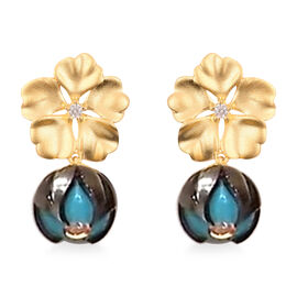 Galatea Pearl - Tahiti Pearl and Natural Cambodian Zircon Floral Design Earrings  (with Push Back) i