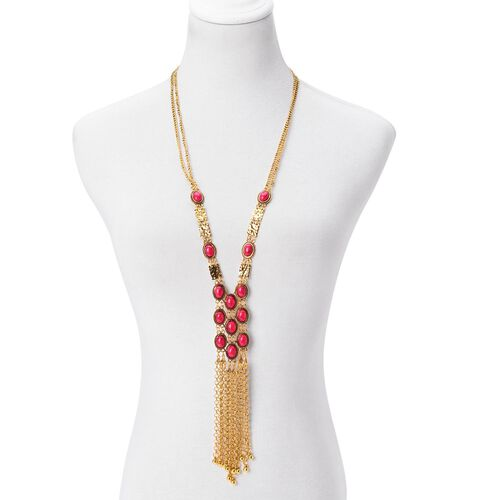 One Time Deal- Simulated Ruby (Ovl) Necklace (Size 30 with 3 inch Extender) and Hook Earrings in Yellow Gold Plated.
