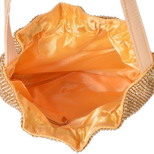 Designer Inspired -White Austrian Crystal Embellished Golden Tote Bag (Size 23X19.5X4 Cm)