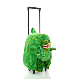 Close Out Deal - Plush Dinosaur Trolley Backpack - Green