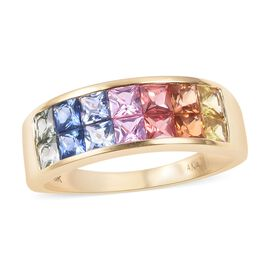 ILIANA 18K Yellow Gold AAA Rainbow Sapphire (Princess) Ring 2.500 Ct.