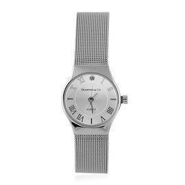 DIAMOND and CO LONDON Diamond Studded Bracelet Watch with a Stainless Steel Mesh Style Strap in Silv