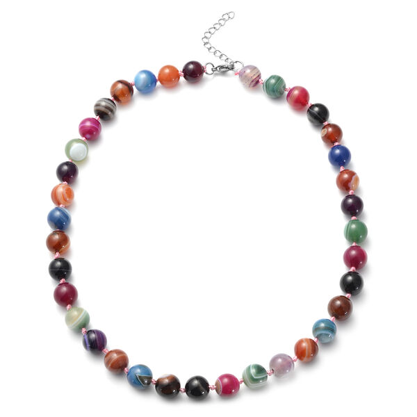 422.50 Ct Multi Agate Beaded Necklace in Stainless Steel 20 Inch