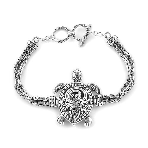 Royal Bali Collection Oxidised Sterling Silver Turtle Bracelet (Size 7.5), Silver wt 25.10 Gms.