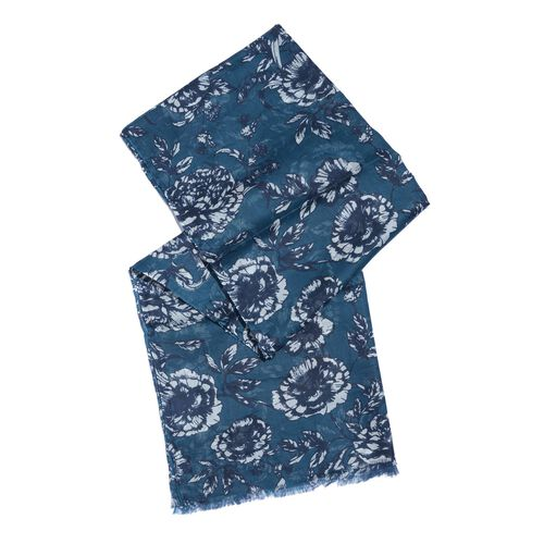 100% Modal Cobalt and White Colour Hand Screen Floral Printed Scarf (Size 180x70 Cm)