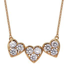Swarovski Zirconia (4.25 Ct) 14K Gold Overlay 14K Gold Overlay Sterling Silver Necklace (Size 18)  4