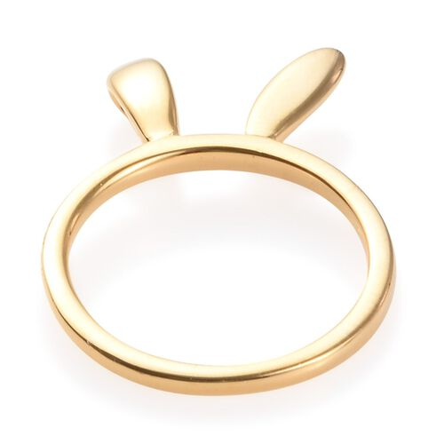 14K Gold Overlay Sterling Silver Bunny Ears Ring