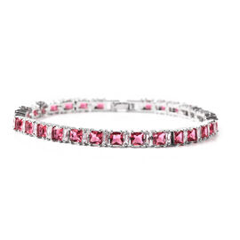 Simulated Ruby and Simulated Diamond Tennis Bracelet (Size 8) in Silver Tone