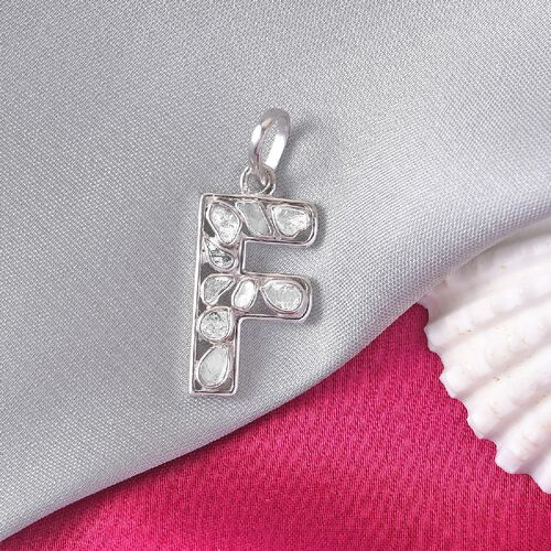 Artisan Crafted Polki Diamond Initial F Pendant in Platinum Overlay Sterling Silver 0.50 Ct.