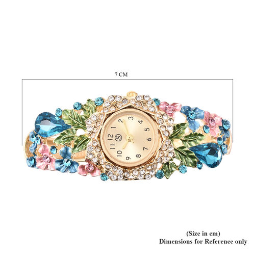 STRADA Japanese Movement Simulated Aquamarine and Multi Colour Austrian Crystal Floral Garden Theme Bracelet Watch in Gold Tone
