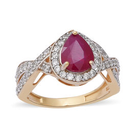 3.10 Ct African Ruby and Zircon Halo Ring in Gold Plated Silver 3.70 Grams