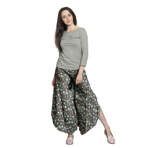 Black, Blue and Multi Colour Floral Pattern Palazzo Trouser (Free Size)