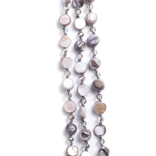 Simulated Grey Agate Beaded Necklace (Size 22 with 2 inch Extender) in Silver Tone
