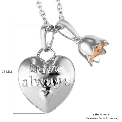 Platinum and Yellow Gold Overlay Sterling Silver Heart & Flower Pendant With Chain (Size 18), Silver wt 6.30 Gms