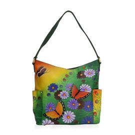 SUKRITI PERIMER Super Soft Genuine Leather Handprint RFID Protected Butterfly and Floral Hobo Bag (S