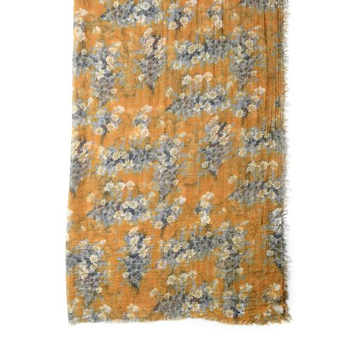 Mustard Colour Scarf with Small White and Grey Flower Pattern ( Size 180x90 Cm)