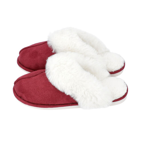 Super Soft Suede Home Slippers with Faux Fur (Size L: 7-8) - Burgundy