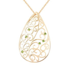 LucyQ Victorian Era Collection - Russian Diopside Filigree Design Pendant with Chain (Size 20) in Ye