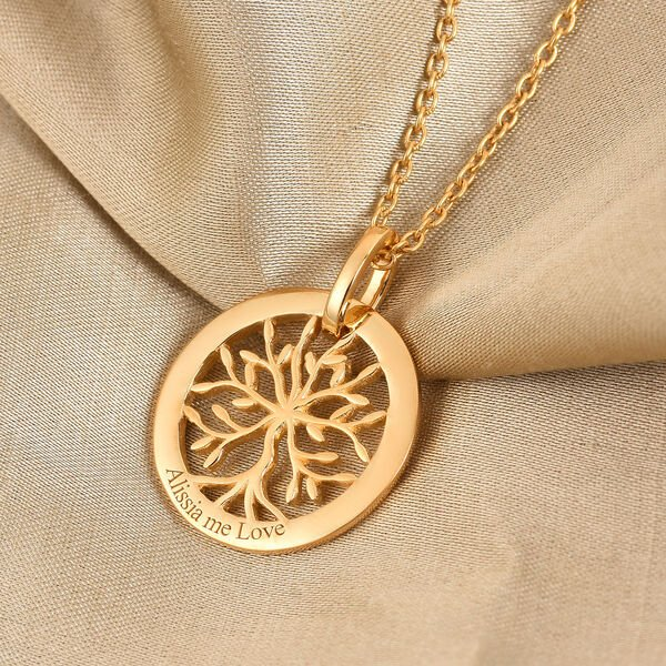 Personalise Engraved Family Tree Necklace, Size 18 Inch