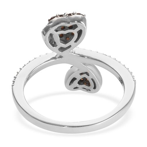 GP Red and White Diamond (Rnd), Blue Sapphire Heart Bypass Ring in Platinum Overlay Sterling Silver 0.53 Ct.
