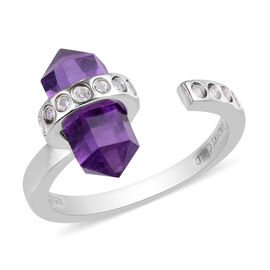 Sundays Child - Amethyst and Natural Cambodian Zircon Ring in Platinum Overlay Sterling Silver 3.25