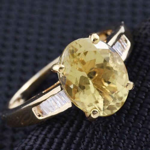 Natural Canary Apatite (Ovl 2.60 Ct), Diamond Ring in 14K Gold Overlay Sterling Silver 2.750 Ct.