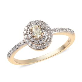 9K Yellow Gold Natural Yellow Diamond (Ovl), Diamond Ring 0.50 Ct.