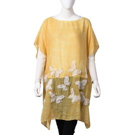 Yellow and White Colour 3D Butterfly Pattern Poncho with Golden Colour Sequins (Size 90x90 Cm)