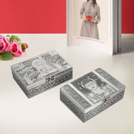 Set of 2 - Lord Buddha Embossed Jewellry Storage Boxes with Blue Interior (17.7x 12.7x5.08 Cm)