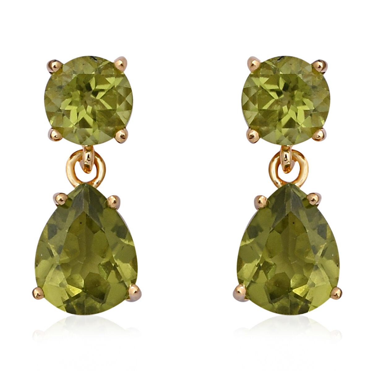 5.14ct Peridot 925 Sterling Silver Push Back Dangle Drop Earrings for Women