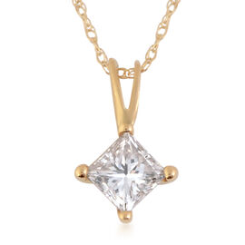 New York Close Out 0.50 Ct Diamond I2 GH Pendant with Chain in 14K Yellow Gold
