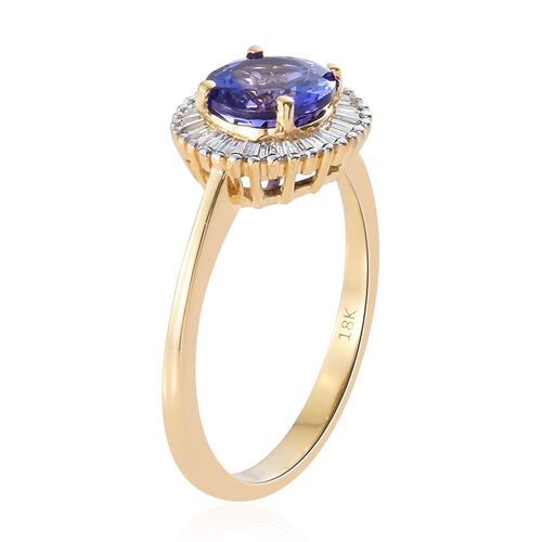 ILIANA 18K Yellow Gold AAA Tanzanite (Rnd 1.50 Ct), Diamond (SI/G-H) Ring 1.900 Ct.
